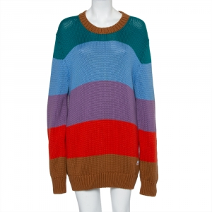 Louis Vuitton Multicolor Striped Cotton & Cashmere Sweater Mini Dress L