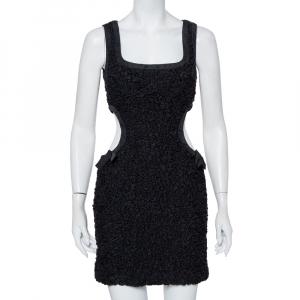 Louis Vuitton Black Textured Cotton Cutout Detail Sleeveless Mini Dress M - used