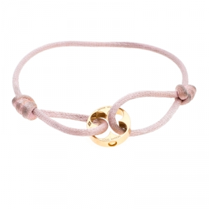 Louis Vuitton Clous 18k Yellow Gold Pink Cord Adjustable Bracelet