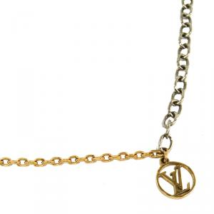Louis Vuitton Logomania Gold Tone Metal Pendant Necklace