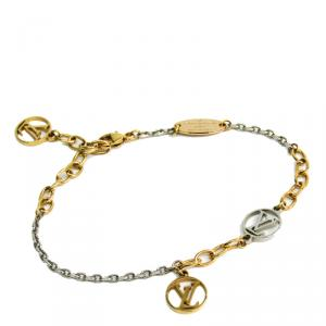 Louis Vuiiton Two Tone Gold Plated Logo Mania Bracelet
