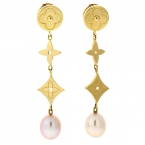 Louis Vuitton Pearl Monogram Earrings 18K Yellow Gold