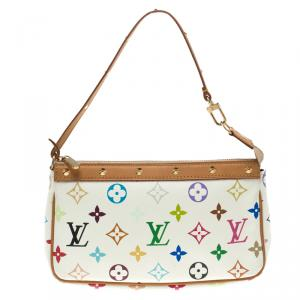 Louis Vuitton White Multicolor Canvas Pochette Accessories