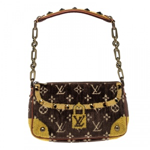 Louis Vuitton Brown/Yellow Velvet Limited Edition Trompe L'oeil Pochette Accessories Bag