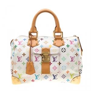 حقيبة لوي فيتون سبيدي كانفاس مونوغرامي متعددة الألوان بيضاء 30
