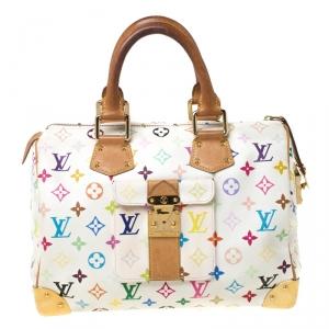 حقيبة لوي فيتون سبيدي كانفاس متعددة الألوان مونوغرامية بيضاء 30