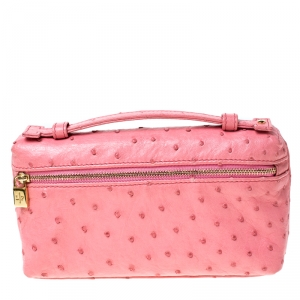 Loro Piana Pink Ostrich Leather Mini Pouch