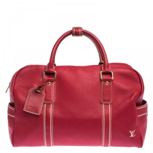 Louis Vuitton Red Tobago Leather Carryall Duffel Bag