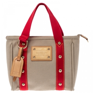 Louis Vuitton Beige/Red Canvas Limited Edition Antigua Cabas Tote PM Bag