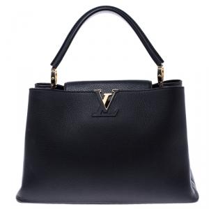 Louis Vuitton Black Taurillon Leather Capucines MM Bag