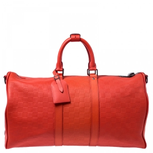 حقيبة لوي فيتون كيبال باندولير جلد دامييه إنفيني برتقالي 45