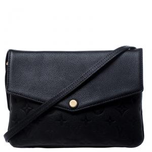 Louis Vuitton Black Monogram Empreinte Leather Twice Bag