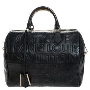حقيبة لوي فيتون سبيدي كوبي 30 إصدار محدود جلد بارز مونوغرام Paris أسود
