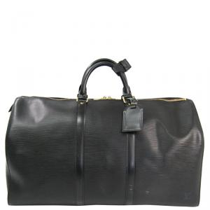 Louis Vuitton Noir Epi Leather Keepall 50 Bag