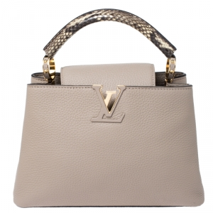 Louis Vuitton Galet Taurillon Leather and Python Capucines BB Bag