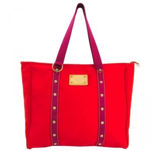 Louis Vuitton Rouge/Pink Canvas Antigua Cabas MM Bag