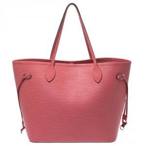 حقيبة لوي فيتون نيفرفول جلد أيبي بنية محمرة MM