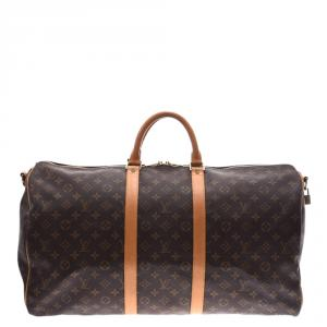 Louis Vuitton Monogram Canvas Keepall Bandoulière 55 Bag
