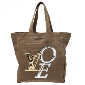 Louis Vuitton Khaki Brown Canvas Limited Edition That's Love Tote Bag