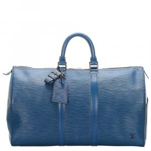 Louis Vuitton Toldeo Blue Epi Leather Keepall 45 Bag
