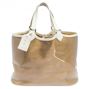 Louis Vuitton White/Gold Vinyl Epi Plage Lagoon Bay GM Bag