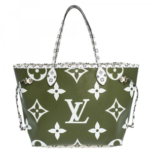 Louis Vuitton Khaki Giant Monogram Canvas Neverfull MM Bag
