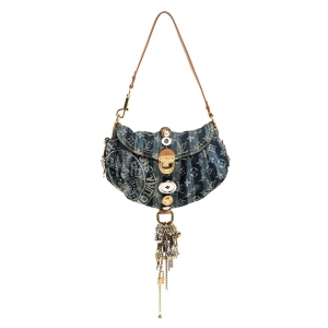 Louis Vuitton Blue Monogram Denim Limited Edition Mini Pleaty Raye Customise Bag