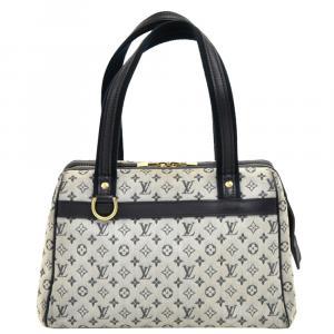Louis Vuitton Creme and Navy Mini Lin Monogram Canvas Josephine PM Bag