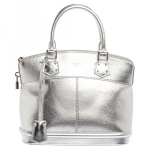 Louis Vuitton Metallic Silver Suhali Leather Lockit PM Bag