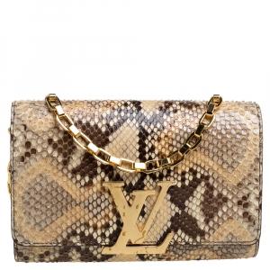 Louis Vuitton Beige Python Chain Louise GM Bag