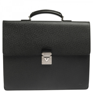 Louis Vuitton Black Taiga Leather Serviette Robusto 2 Business Briefcase Bag