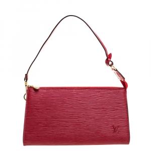 Louis Vuitton Red Epi Leather Pochette Accessories