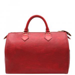 Louis Vuitton Red Epi Leather Speedy 30 Boston Bag