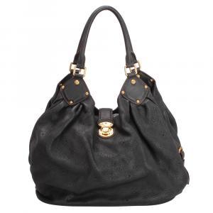 Louis Vuitton Black Leather Mahina L Hobo Bag