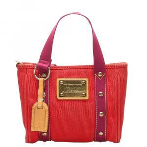 Louis Vuitton Red Canvas  Antigua Cabas PM Totes
