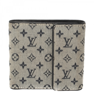 Louis Vuitton Blue Mini Lin Canvas Trifold Compact Wallet