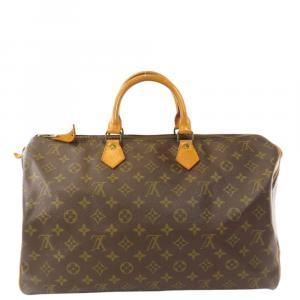 Louis Vuitton Brown Monogram Canvas Speedy 40 Boston Bag