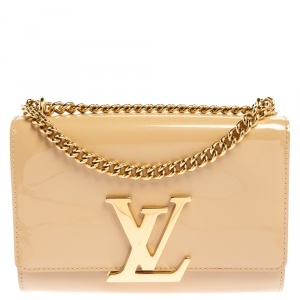 Louis Vuitton Beige Patent Leather Chain Louise MM Bag