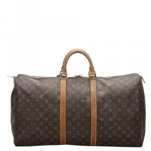 Louis Vuitton Brown Monogram Canvas Keepall Bandouliere 55 Bag