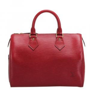 Louis Vuitton Red Epi Leather Speedy 30 Bag