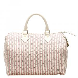 Louis Vuitton Pink/White Monogram Mini Lin Canvas Croisette Speedy 30 Bag