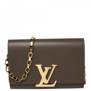 Louis Vuitton Granit Leather Chain Louise GM Bag
