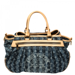 Louis Vuitton Blue Monogram Denim Limited Edition Porte Epaule Raye GM Bag