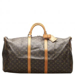 Louis Vuitton Brown Monogram Canvas Keepall Bandouliere 60 Bag