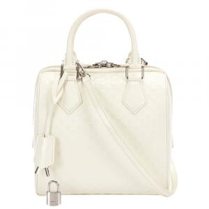 Louis Vuitton White Damier Facette Leather Speedy Cube PM Bag