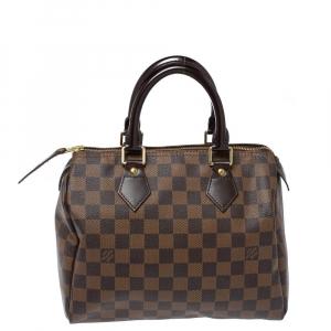 Louis Vuitton Damier Ebene Canvas Speedy 25 Bag