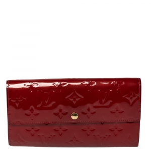 Louis Vuitton Red Monogram Vernis Sarah Wallet