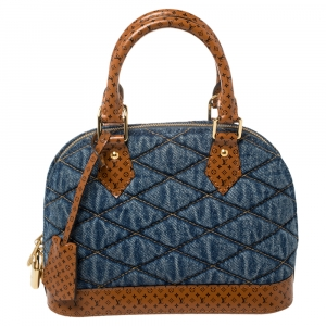 Louis Vuitton Blue Denim and Monogram Leather Alma BB Satchel