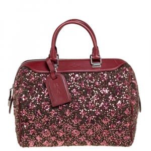 Louis Vuitton Burgundy/Green Wool, Sequin, and Leather Sunshine Express Speedy 30 Bag