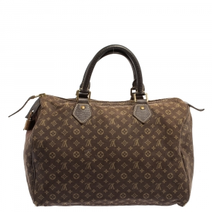 Louis Vuitton Fusain Monogram Mini Lin Canvas Speedy 30 Bag